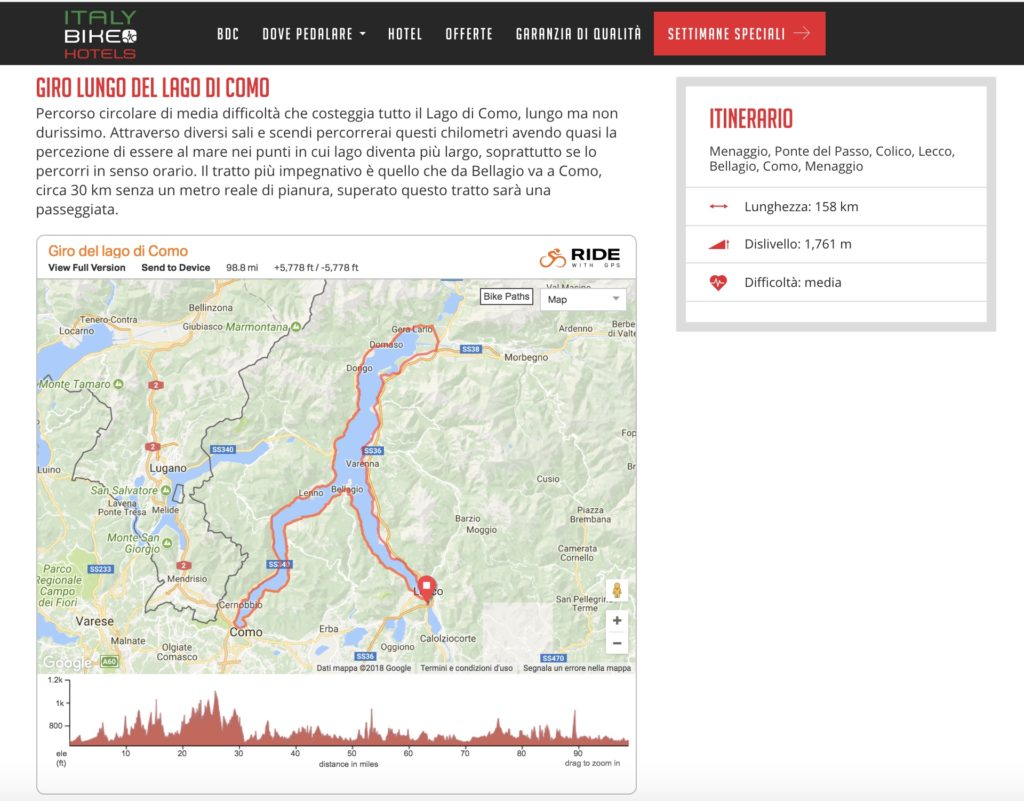 Tracciatura percorsi ciclistici con Ride with GPS
