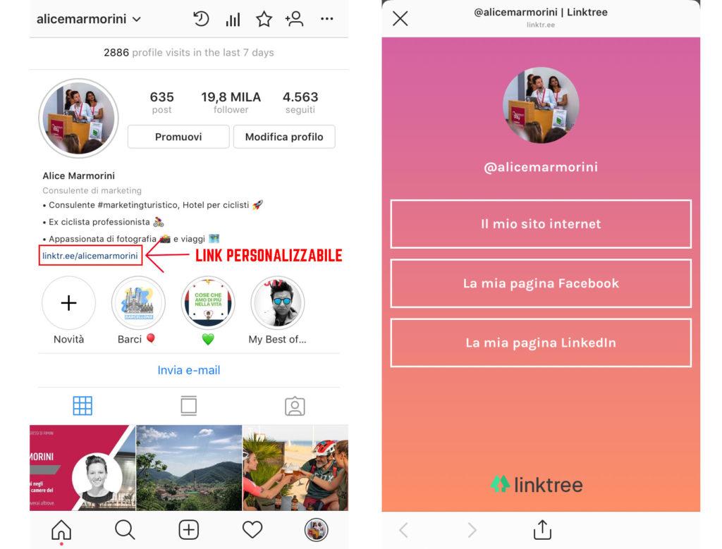 inserimento link su instagram