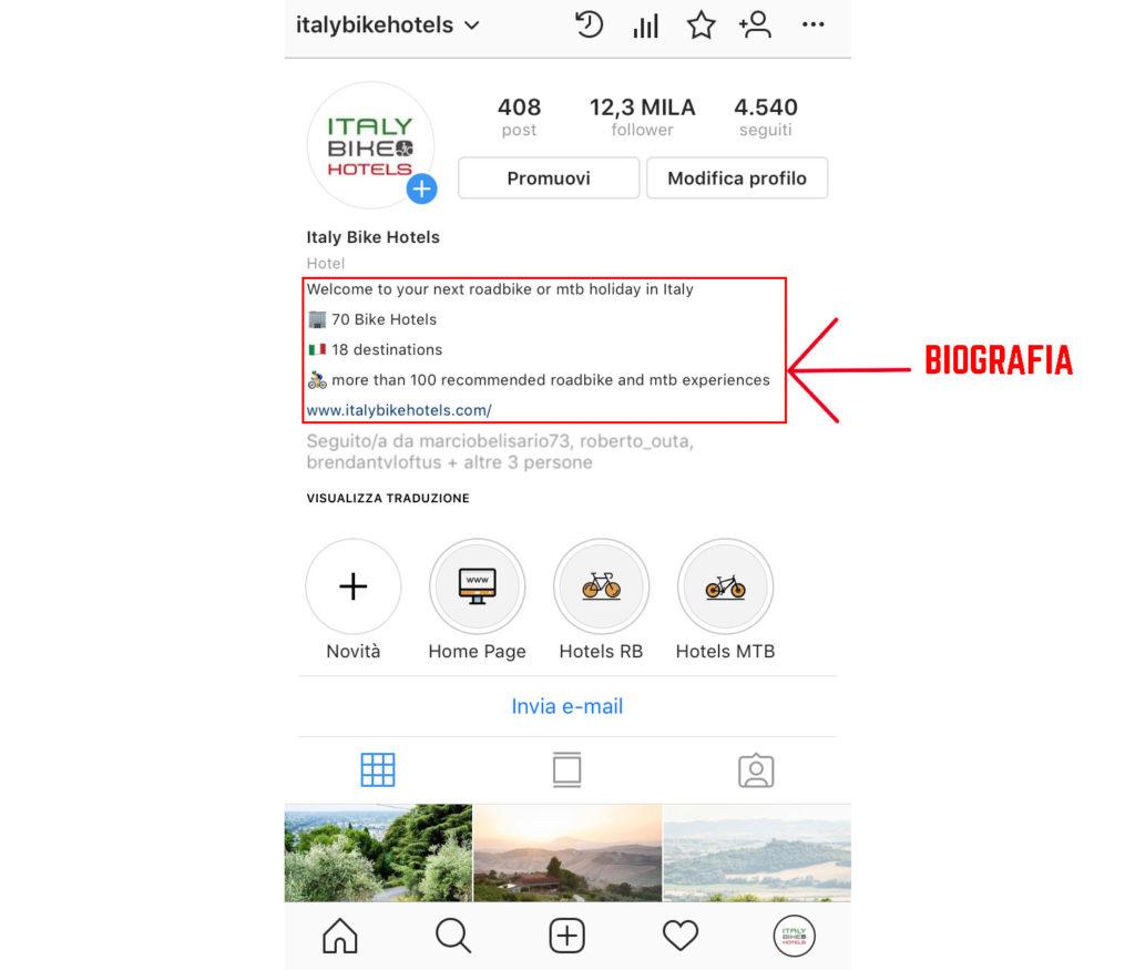 ottimizzare biografia instagram